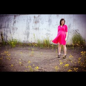 Hot Pink Maternity America Dress